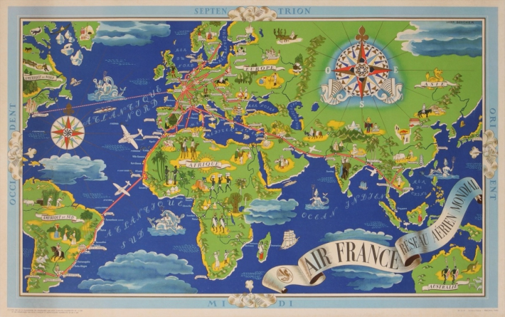 En vente :  AIR FRANCE OCCIDENT PLANISPHERE VERTE ET BLEU