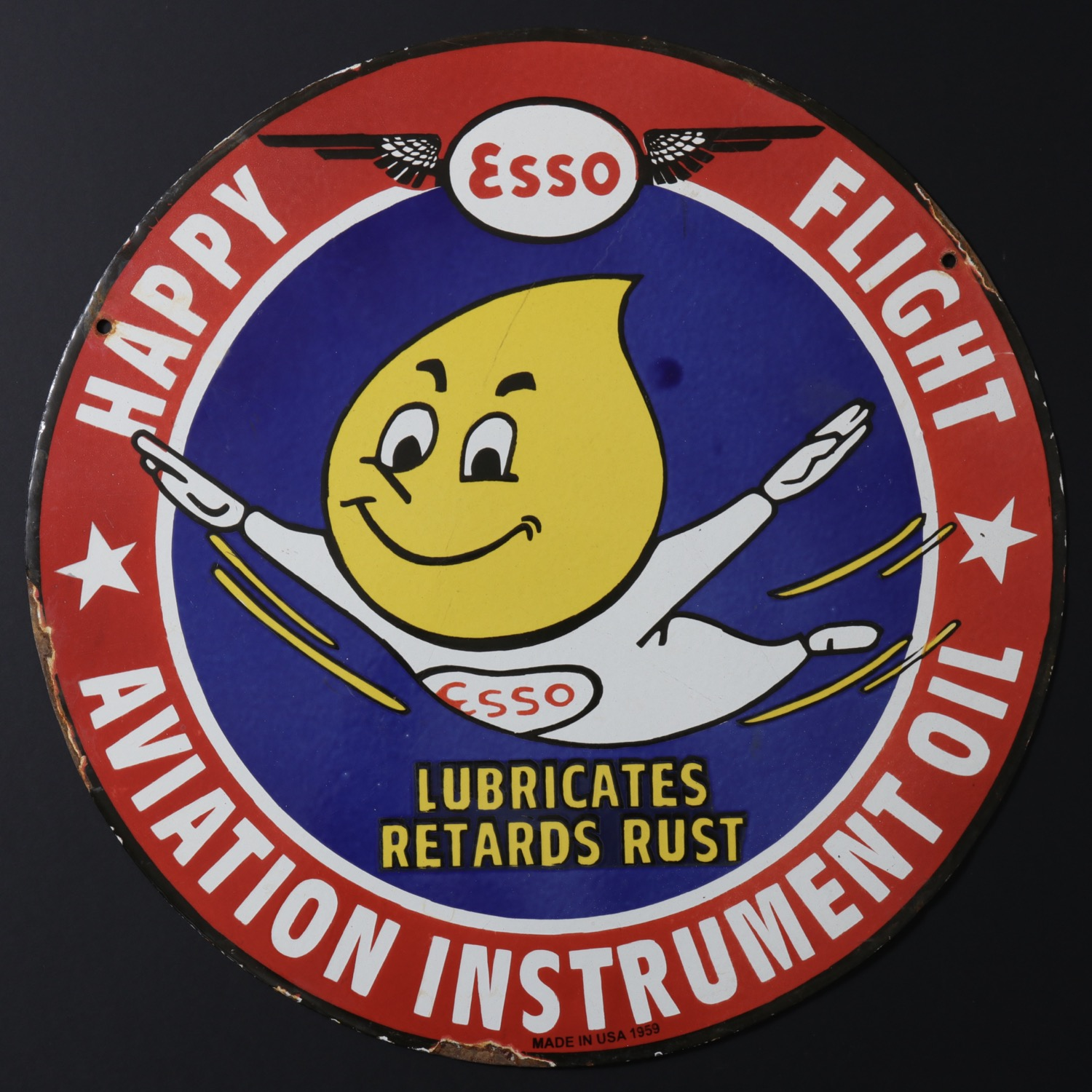 En vente :  ESSO HAPPY FLIGHT AVIATION INSTRUMENT OIL-PLAQUE EMAIL