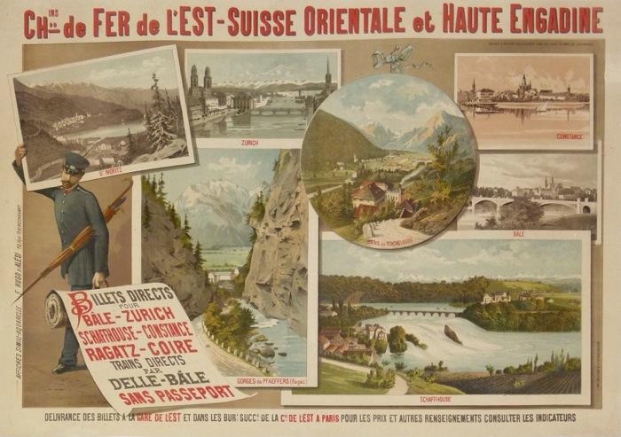 Affiches anciennes chemin de fer de l est suisse for Haute zurich