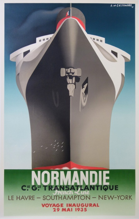 affiches anciennes normandie voyage inaugural 29 mai 1935 grande taille cassandre adolphe mouron. Black Bedroom Furniture Sets. Home Design Ideas