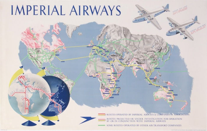 En vente :  IMPERIAL AIRWAYS PLANISPHERE WORLD MAP - CENTAURUS EMPIRE FLYING BOAT AND ENSIGN