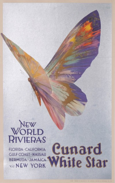 En vente :  CUNARD WHITE STAR  BUTTERFFLY NEW WORLD RIVIERAS  CALIFORNIA FLORIDA NASSAU