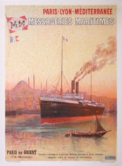 En vente :  CONSTANTINOPLE ISTANBUL TRAINS PLM MESSAGERIES MARITIMES PARIS EN ORIENT VIA MAR