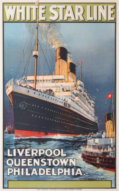 En vente :  WHITE STAR LINE LIVERPOOL QUEENSTOWN PHILADELPHIA