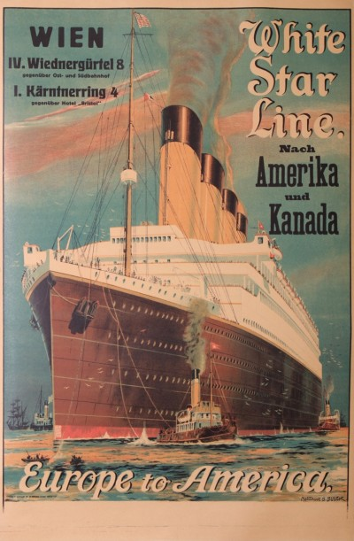 En vente :  WHITE STAR LINE NACH AMERIKA UND KANADA WIEN  EUROPE TO AMERICA  GERMAN TEXT