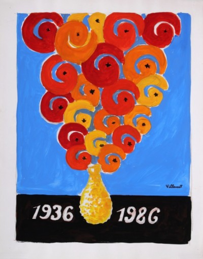 En vente :  ORANGINA BOUQUET D'ORANGE 1936-1986 ETUDE D'AFFICHE