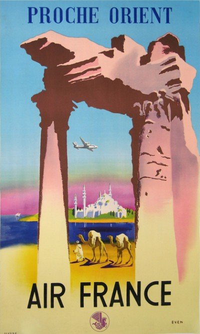 En vente :  AFFICHE ANCIENNE AIR FRANCE PROCHE ORIENT par EVEN