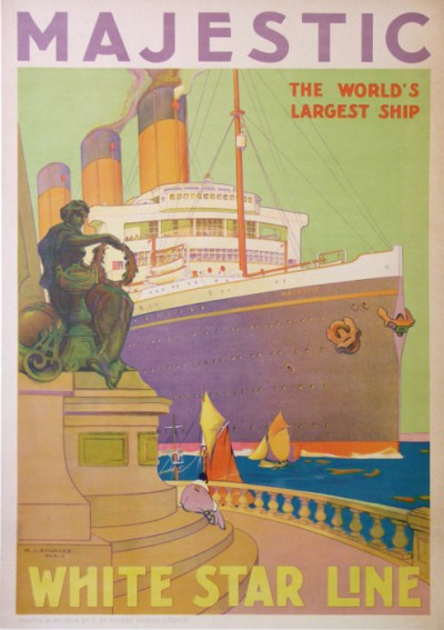 En vente :  WHITE STAR LINE  MAJESTIC  THE WORLD'S LARGEST SHIP