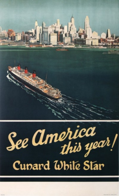 En vente :  CUNARD WHITE STAR SEE AMERICA THIS YEAR