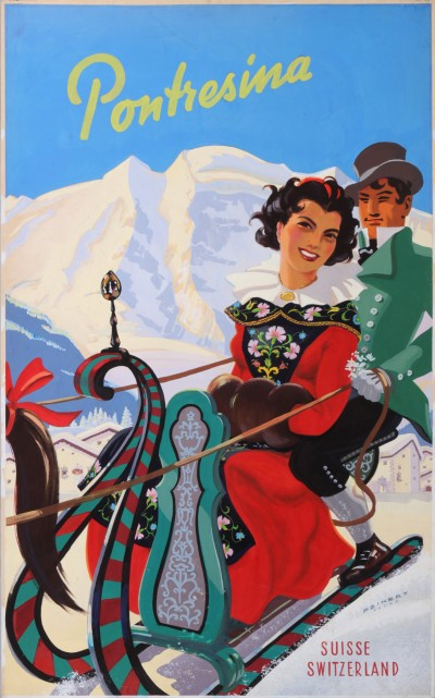 En vente :  VEVEY PONTRESINA  ENGADIN SUISSE SWITZERLAND ORIGINAL PROJECT OF THE POSTER