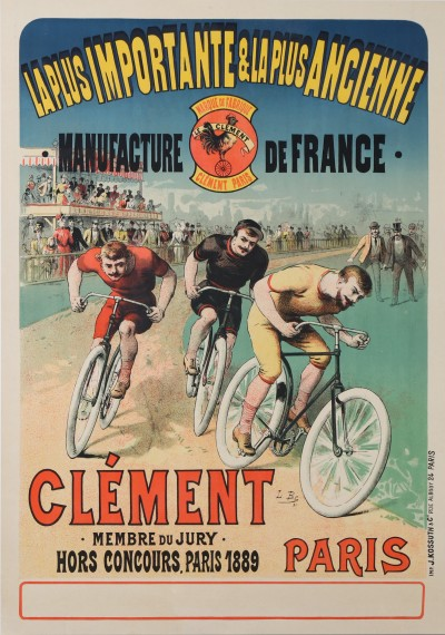 En vente :  CYCLES CLEMENT MANUFACTURE DE FRANCE - COURSE CYCLISTE - CYCLING RACE - Affiche