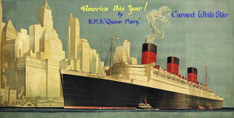 En vente :  CUNARD WHITE STAR AMERICA BY RMS QUEEN MARY