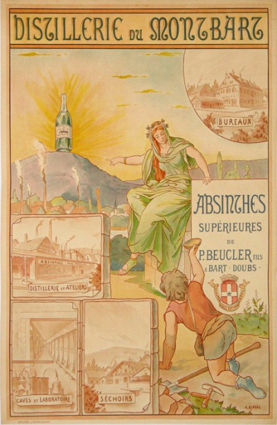 En vente :  ABSINTHES PAUL BEUCLER DISTILERIES DU MONTBARZ AFFICHE ANCIENNE