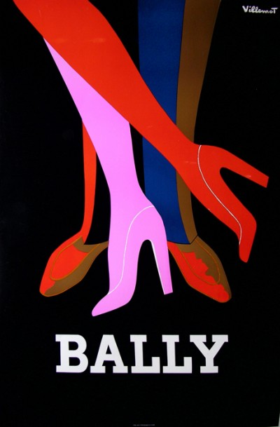 En vente :  62- AFFICHE ANCIENNE CHAUSSURES BALLY  -  LES JAMBES