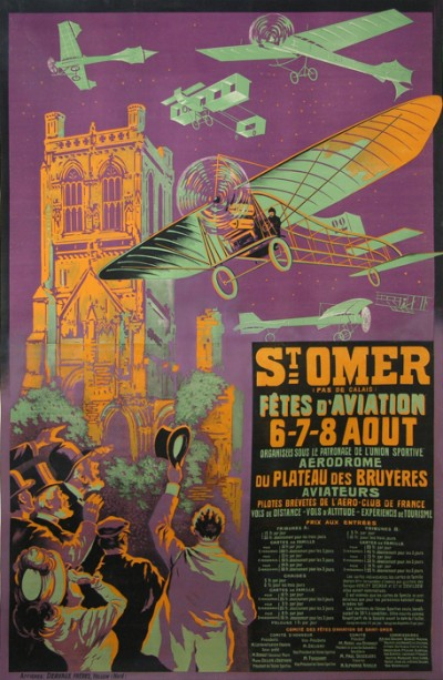 En vente :  SAINT OMER FETE D AVIATION - AFFICHE ANCIENNE