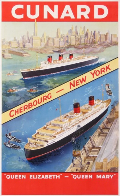 En vente :  CUNARD CHERBOURG NEW YORK-QUEEN ELIZABETH-QUEEN Mary